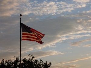 Author's photo, July 2014, of the American Flag at Dusk