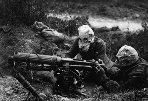 British Machine Gun Team in World War I