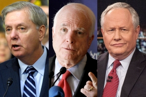 "Even John McCain (middle) might blanch at being bookended by ""warriors"" Lindsey Graham (left) and Bill Kristol (right)"