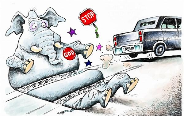 Trump runs over GOP