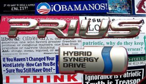 Prius Politics -- Seen at a campus near you!